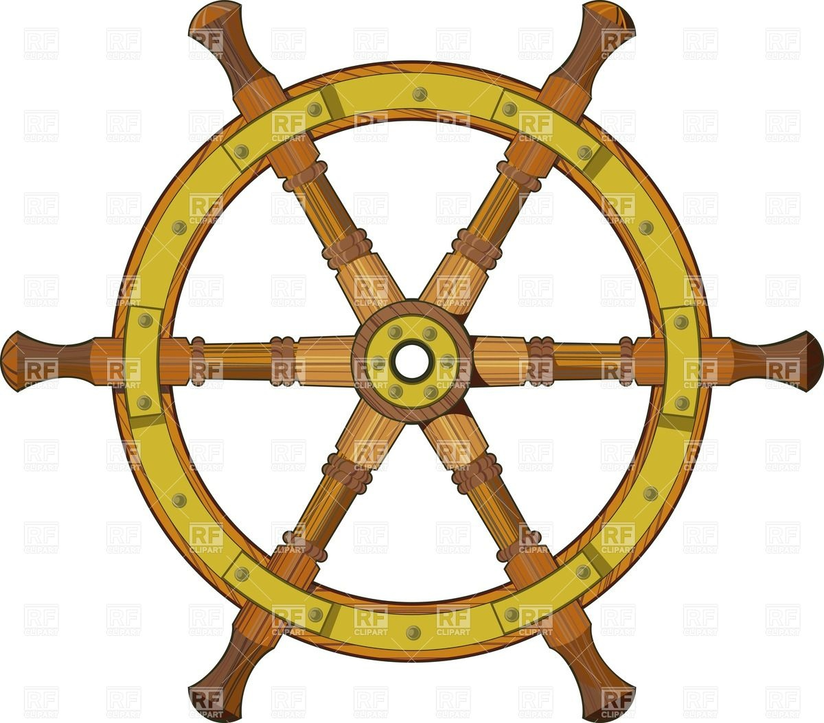 Wooden Ship Steering Wheel Download Royalty Free Vector Clipart  Eps