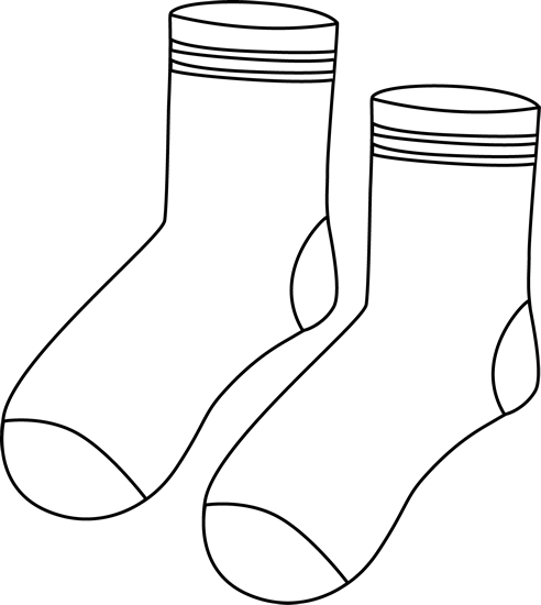 And White Socks Clip Art   Black And White Pair Of Socks With Stripes