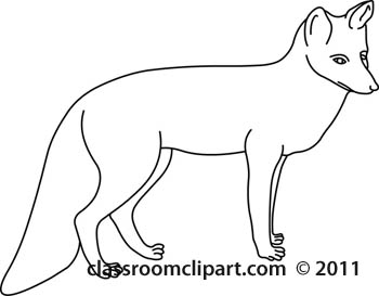 Animals   Animal Fox 234 Outline   Classroom Clipart