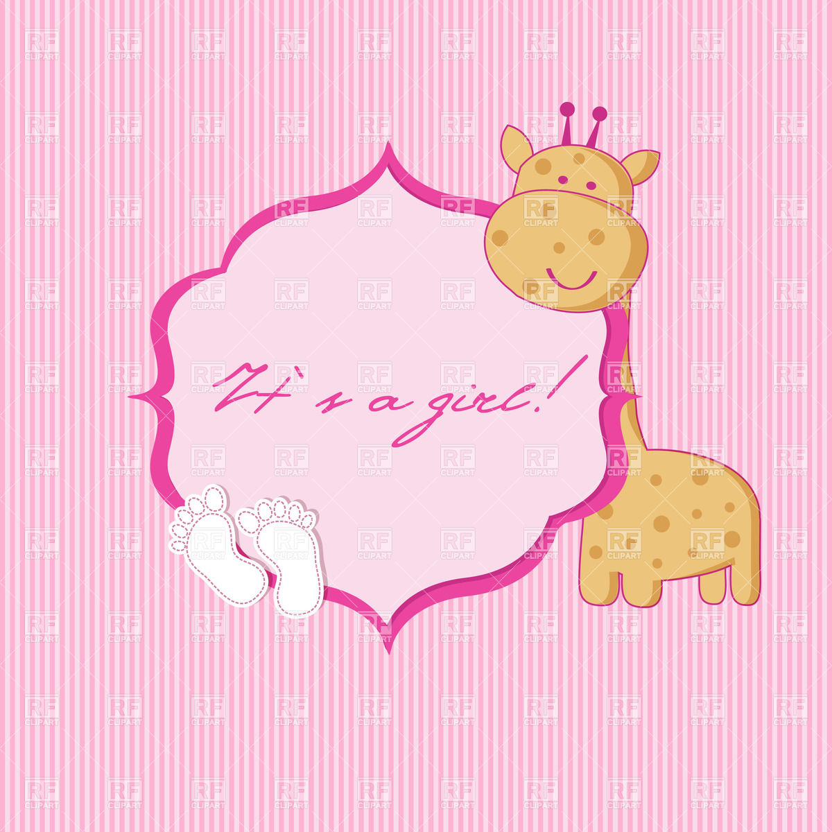 Baby Girl Birth Announcement Card With Cartoon Giraffe And Footprints