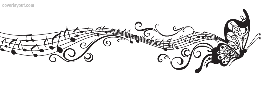 Black And White Buttefly Music Notes Facebook Cover Layout