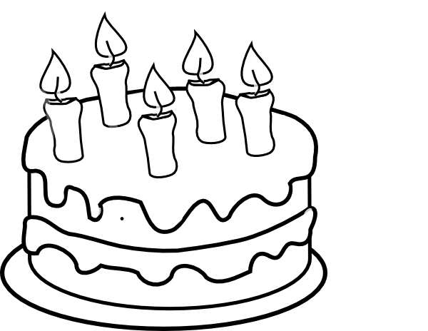 Clip Art Black And White Bday Cake 5 Candles Black And White Hi Png