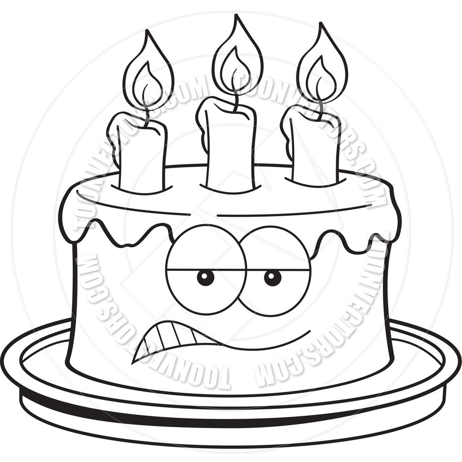Clip Art Black And White Cartoon Angry Birthday Cake Black And White