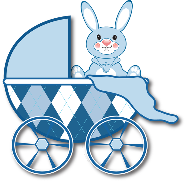 Free Clip Art For Birth Announcements   Blue Baby Carriage