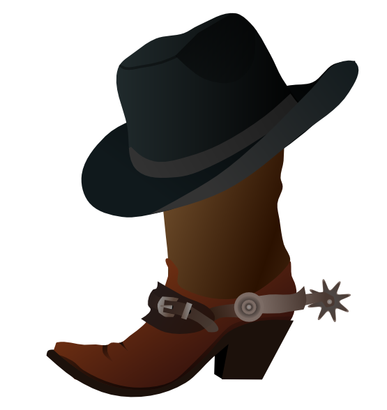 Free Cowboy Boot With Hat Clip Art