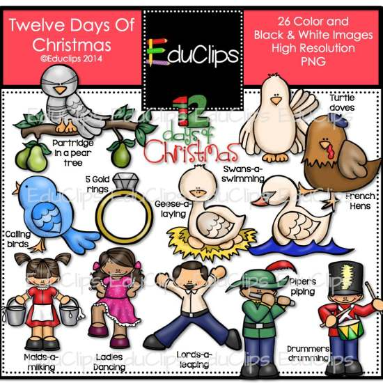 Home   Products   Twelve Days Of Christmas Clip Art Bundle  Color And