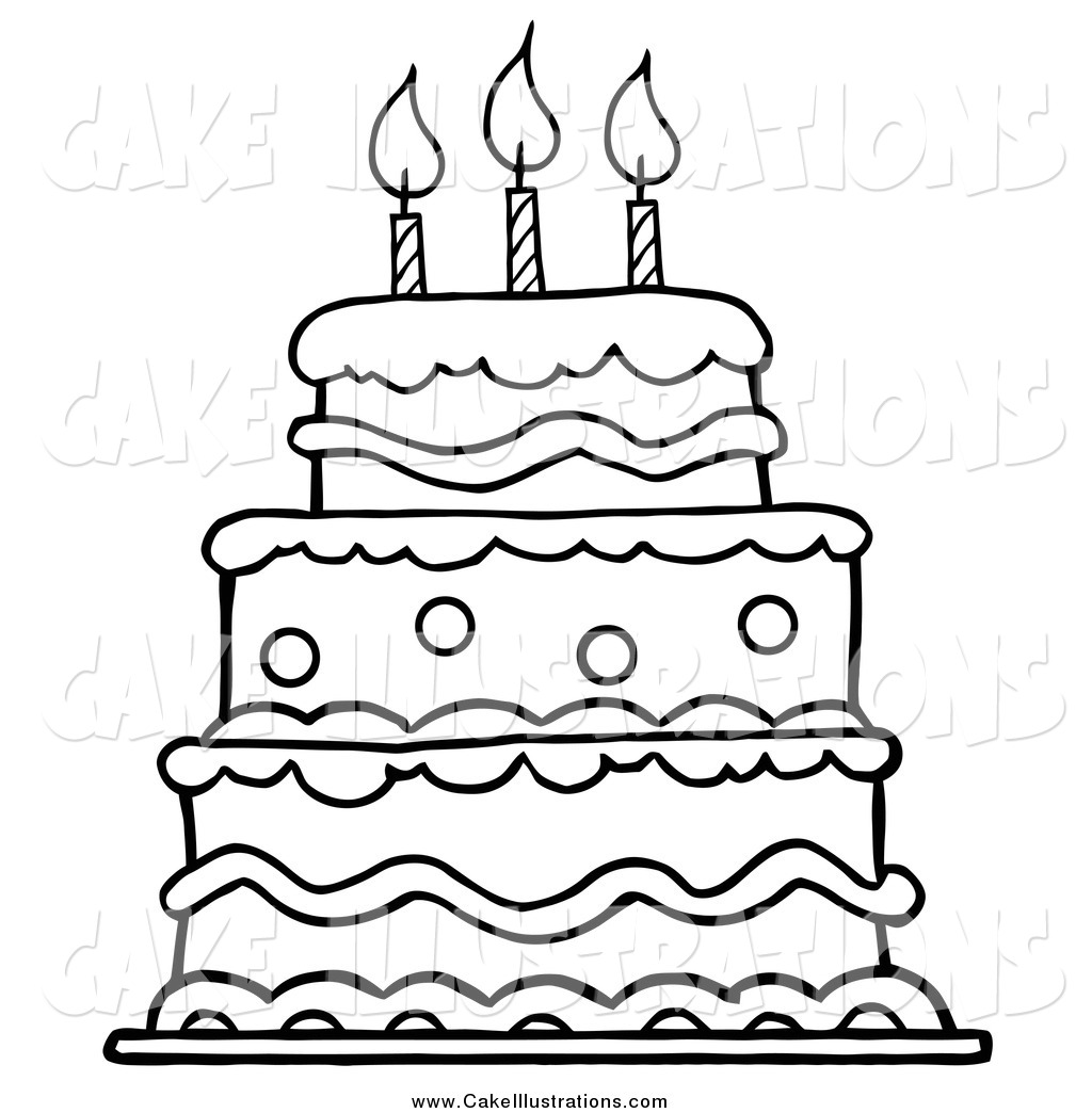 Illustration Cartoon Vector Of A Black And White Layered Birthday Cake