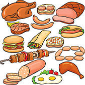 Meat Products Icon Set   Royalty Free Clip Art
