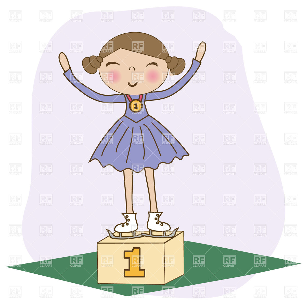 On Winner Podium   Won 1st Download Royalty Free Vector Clipart  Eps