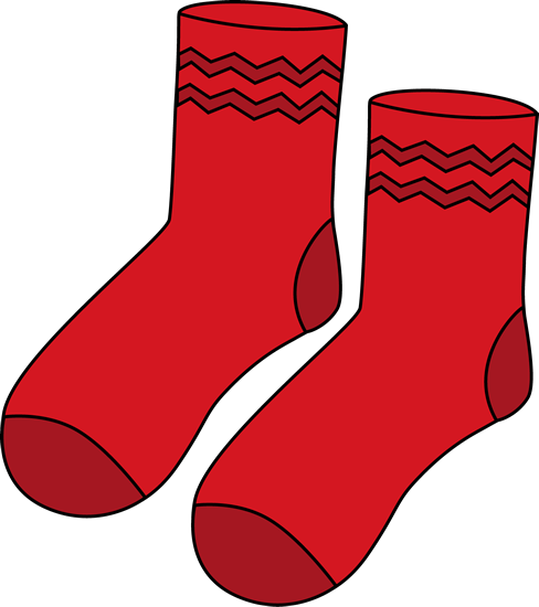 Red Pair Of Socks Clip Art   Pair Of Red Socks With Dark Red Zig Zag