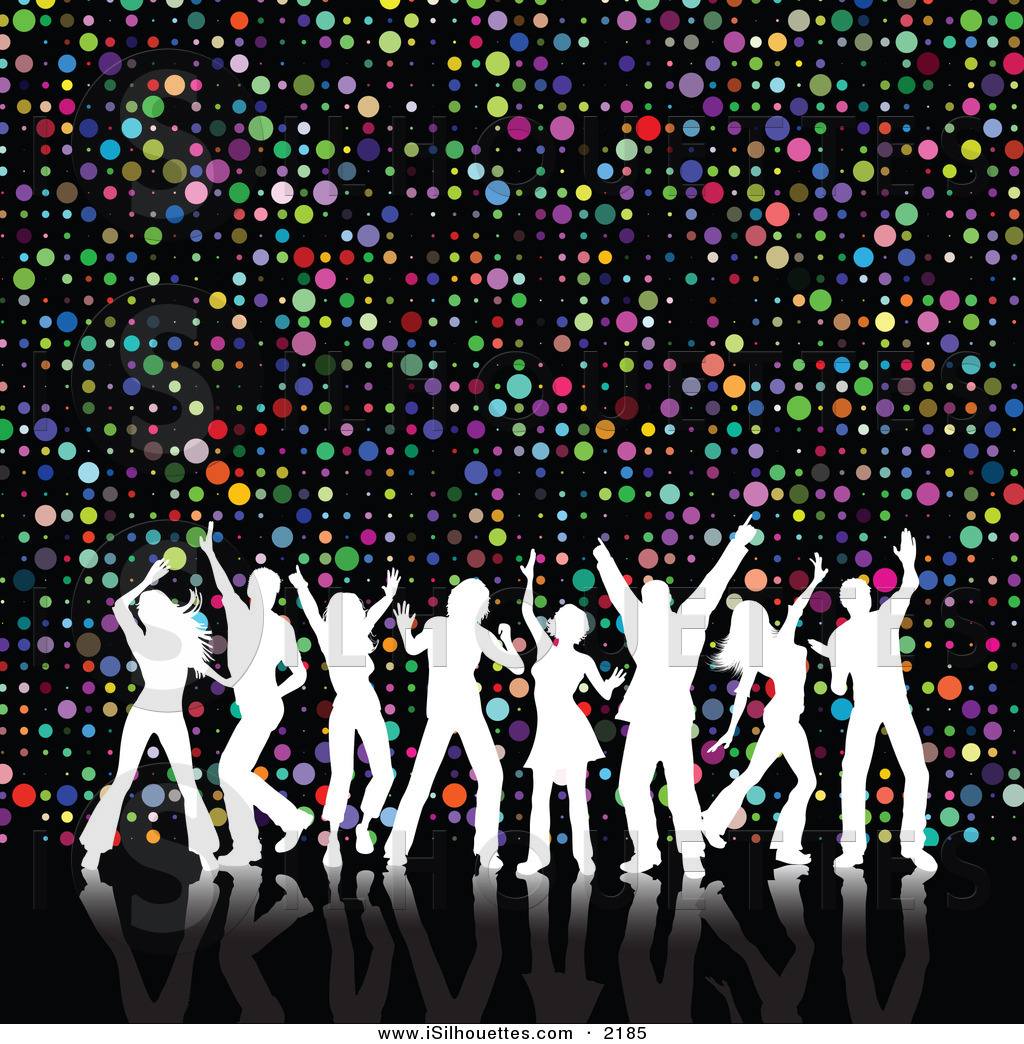 Silhouette Clipart Of A Group Of 8 White Silhouetted Dancers With