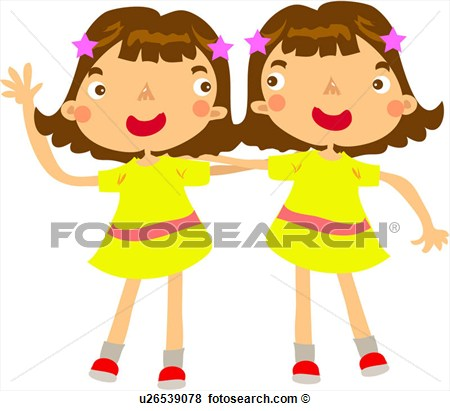 Sister Hairpin Putting Arms Twins Girl U26539078   Search Clipart