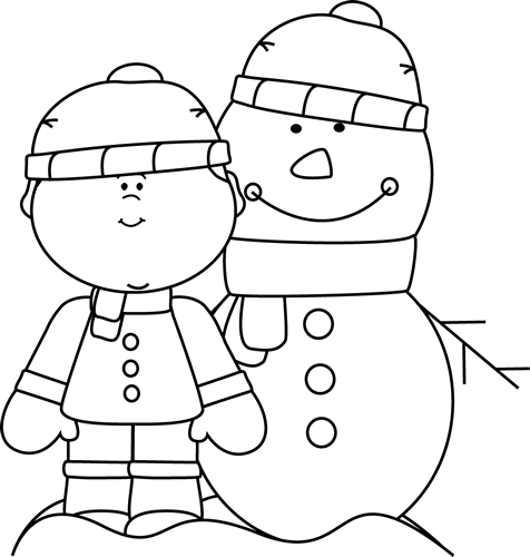 Black And White Boy With Snowman Clip Art   Black And White Boy With