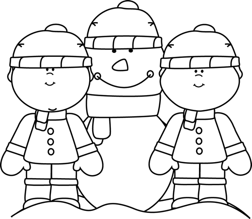 Black And White Boys With Snowman Clip Art   Black And White Boys With