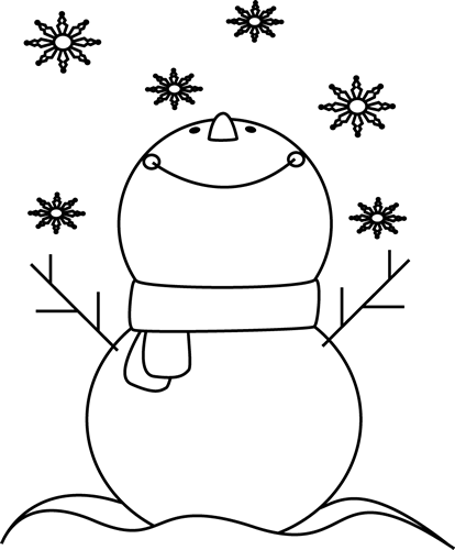 Black And White Snowman Catching Snowflakes Clip Art   Black And White