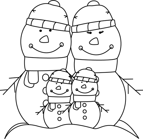 Black And White Snowman Family Clip Art   Black And White Snowman
