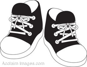 Clipart Illustration Of A Pair Of Black Child S Tennis Shoes