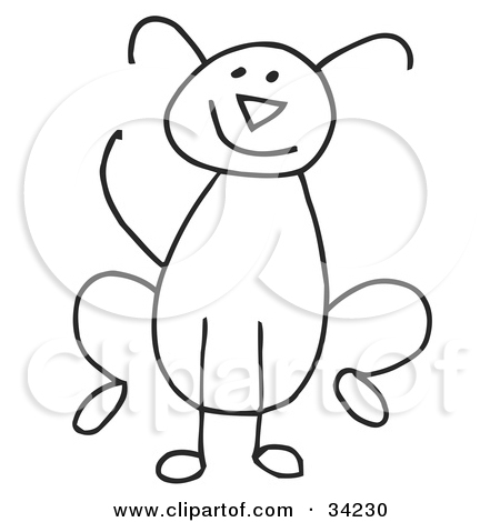 Clipart Illustration Of A Stick Figure Cat Dog Bird Dragonfly