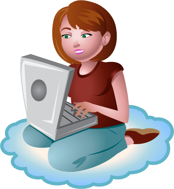 Cloud Female People Short Hair Technology Typing Woman
