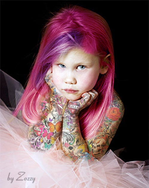 Cute Girl Tattoed By Zozzy Evil   Free Images At Clker Com   Vector