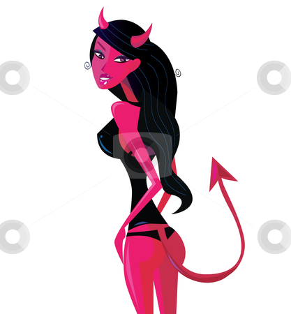 Devil Pinup Girl Stock Vector Clipart Bad Bad Girl Devil Evil Girl
