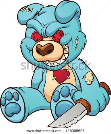 Evil Teddy Bear  Vector Clip Art Illustration With Simple Gradients