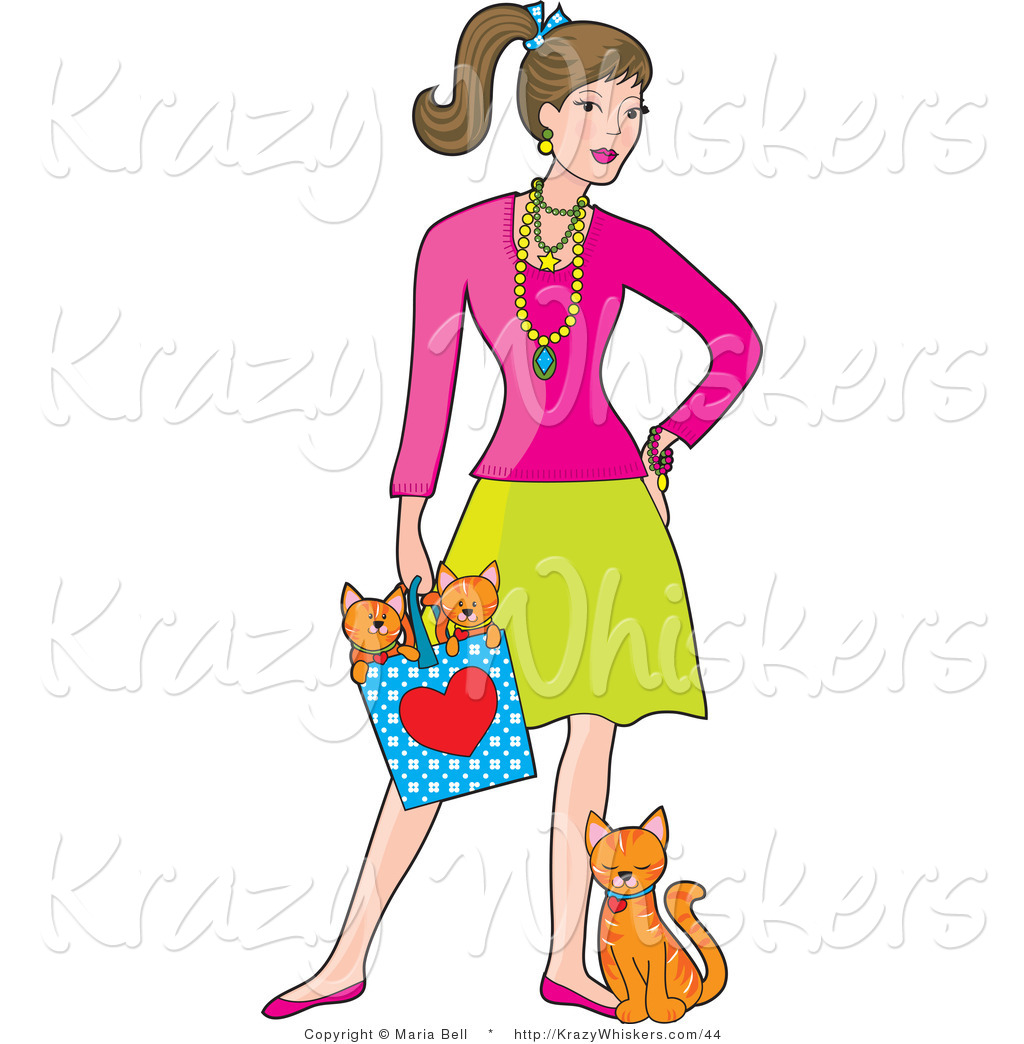 Kitty Clipart Of A Stylish Lady With A Cat At Her Feet And Kittens In