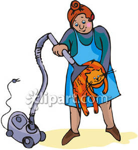 Lady Vacuuming A Cat With The Vacuum Cleaner Royalty Free Clipart