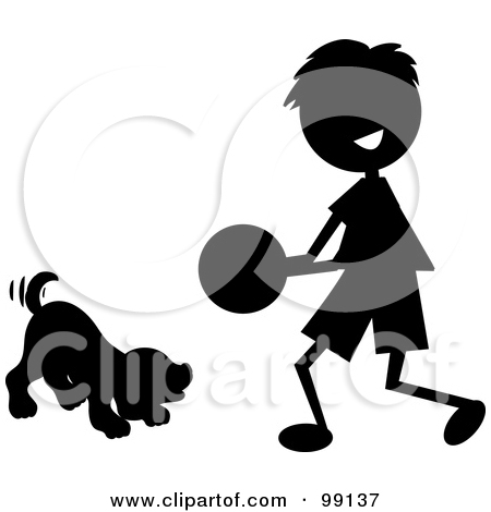 Silhouetted Stick Boy Playing Ball With A Dog By Pams Clipart  99137
