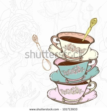 Tea Cup Background With Spoonvector Illustration   Stock Vector