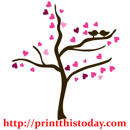 Tree With Love Birds Clip Art