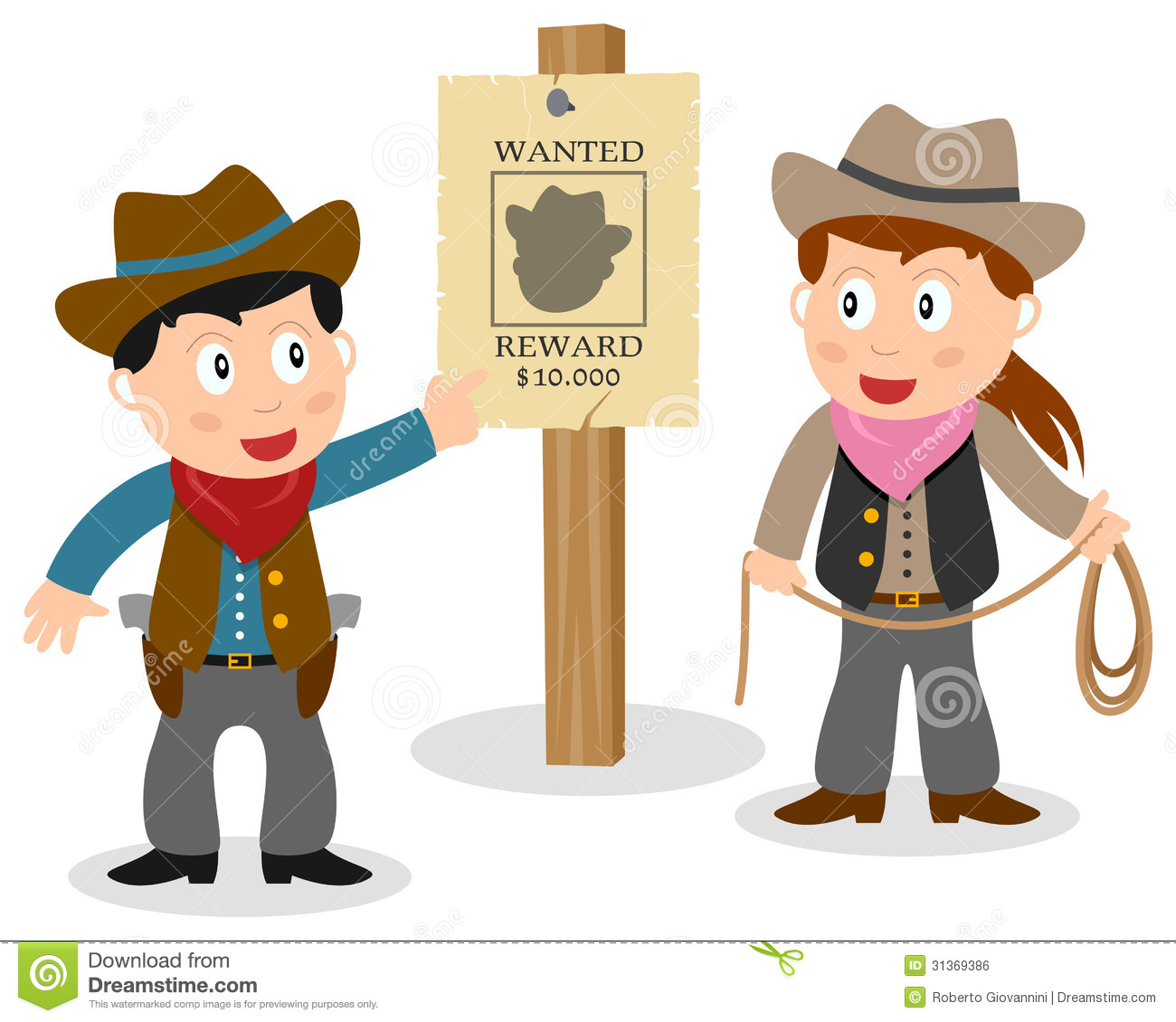 Two Cartoon Cowboy Kids  Boy And Girl  Looking At A Wanted Poster On