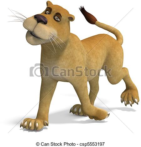 Very Cute And Funny Female Cartoon Lion  3d Rendering With And Shadow