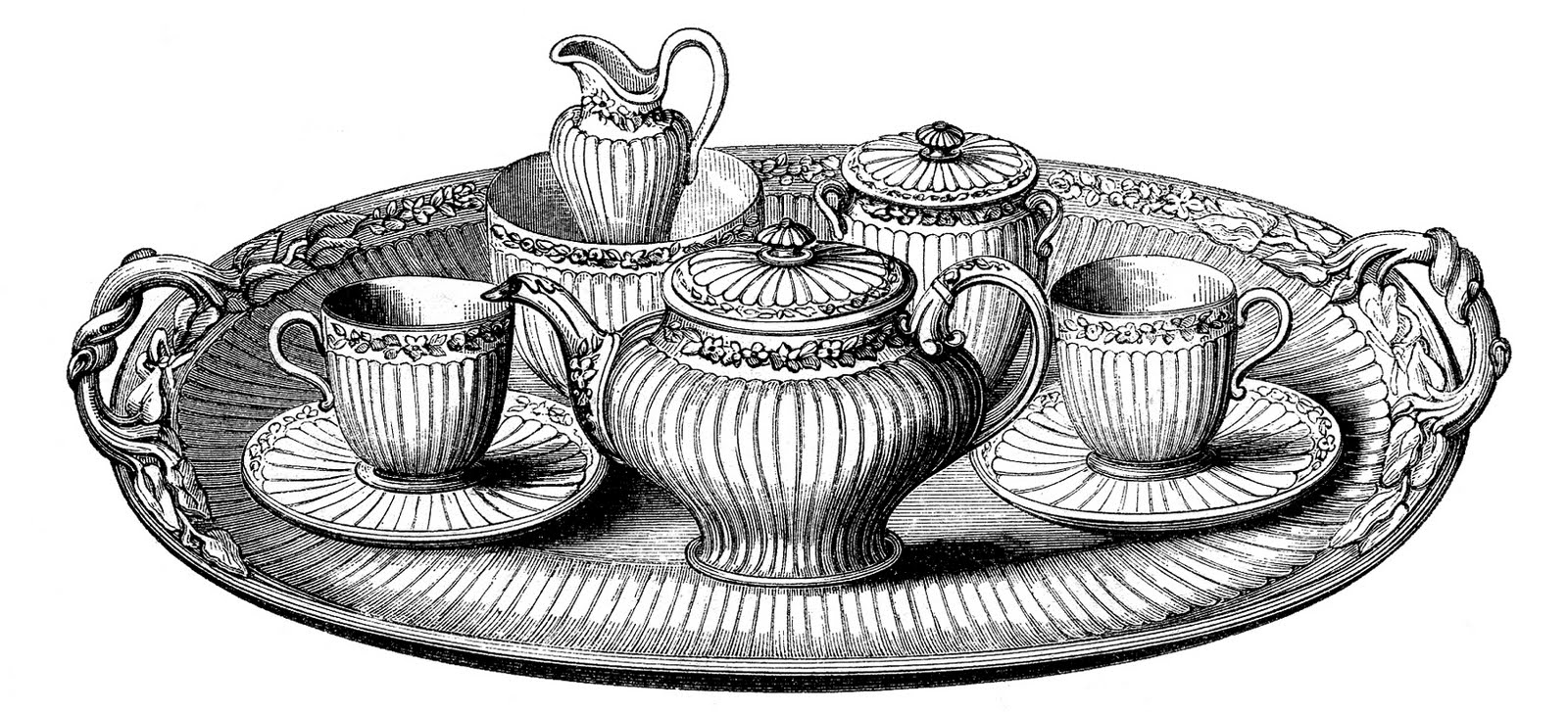 Vintage Clip Art   Tea Set With Platter   The Graphics Fairy