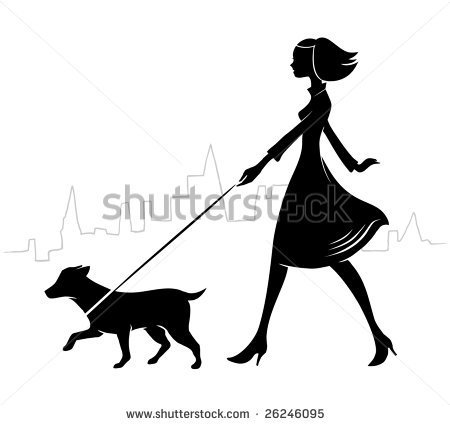 Woman Walking Dog Stock Photos Illustrations And Vector Art