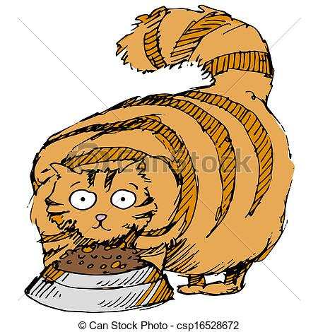 Cat   An Image Of A Fat Cat Eating Food Csp16528672   Search Clipart