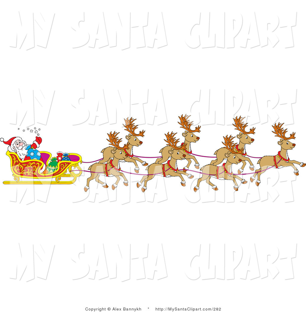 Christmas Clip Art Of A Team Of Santa S Reindeer Pulling The Sleigh On
