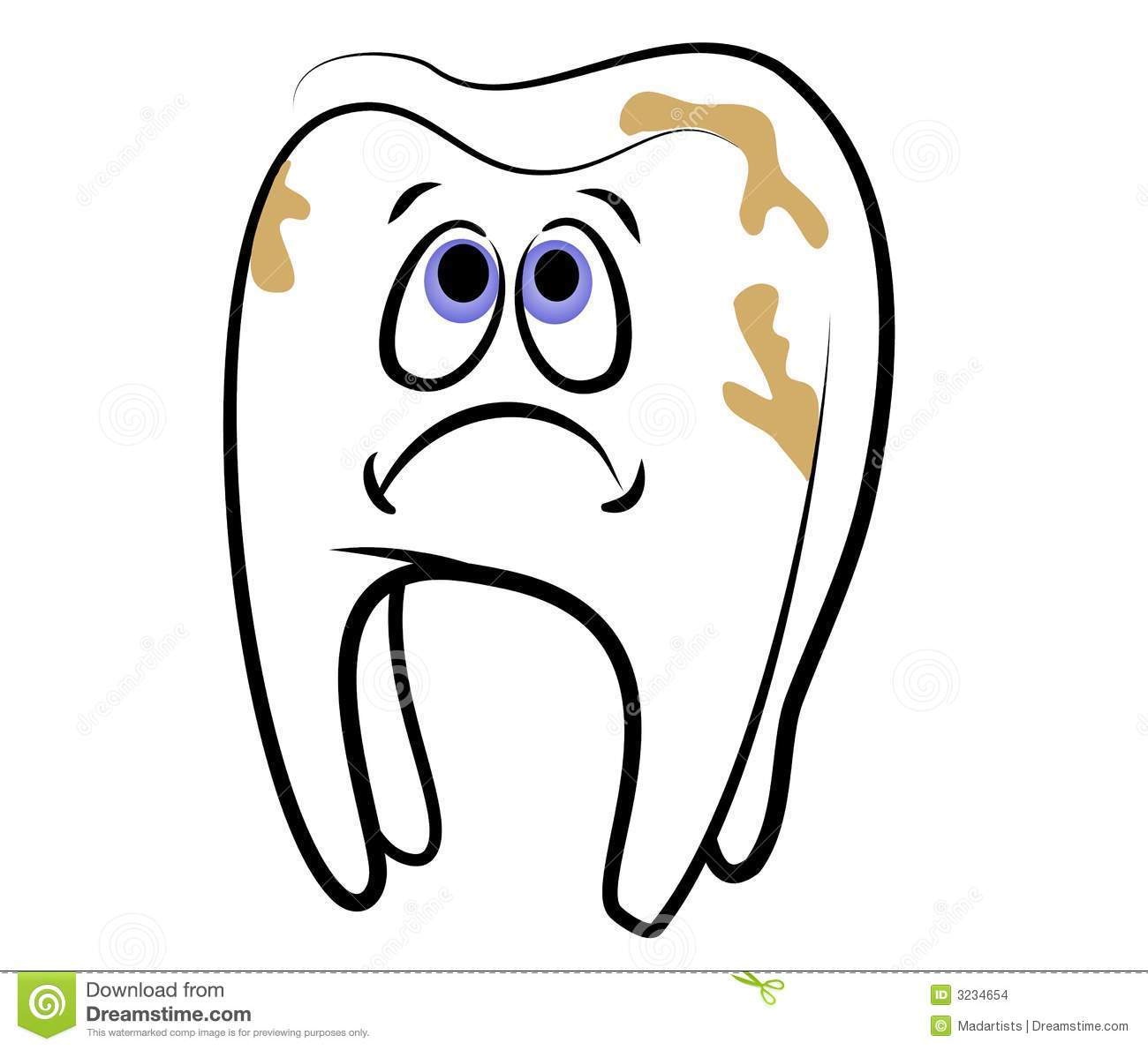 Clip Art Illustration Of A Cartoonish Looking White Tooth With A Sad