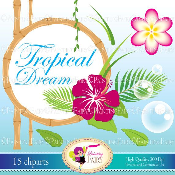 Hawaiian Tropical Paradise Clipart - Clipart Kid