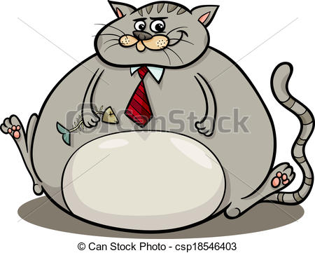 Fat Cat Saying Cartoon Illustration   Csp18546403
