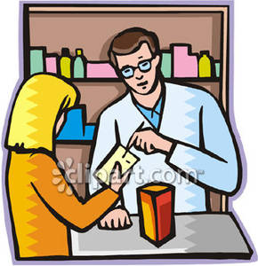 Helping A Woman With Her Medication   Royalty Free Clipart Picture