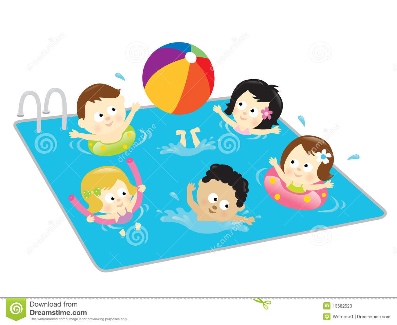 Kids Having Fun In The Pool Stock Photos   Image  13682523