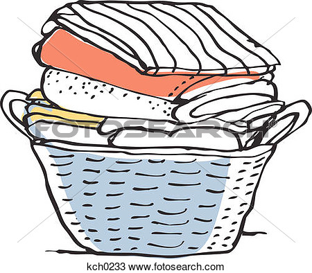 Laundry In A Basket Against White Background Kch0233   Search Clipart