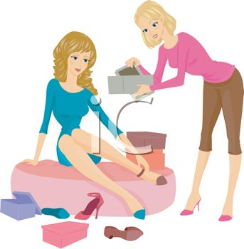 Sales Clerk Helping A Woman In A Shoe Store   Royalty Free Clip Art