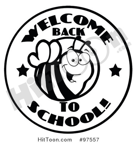 Bee Clipart  97557  Black And White Welcome Back To School Bee Circle