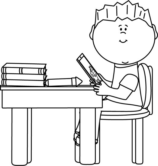 Students Black And White Desk Clipart - Clipart Kid