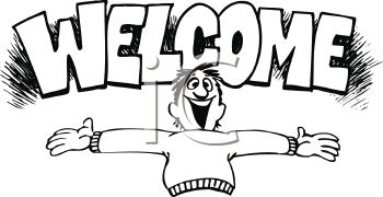 Black And White Cartoon Of A Man With His Arms Open Wide And A Welcome