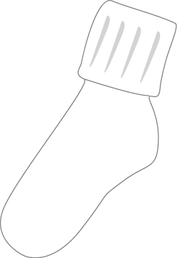 Black And White Funky Sock Clip Art Image