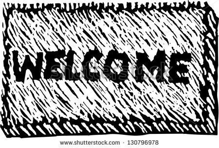 Black And White Vector Illustration Of A Welcome Mat   Stock Vector