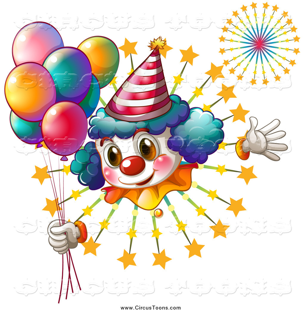 Circus Clipart Of A Clown Holding Balloons Over Bursting Fireworks By
